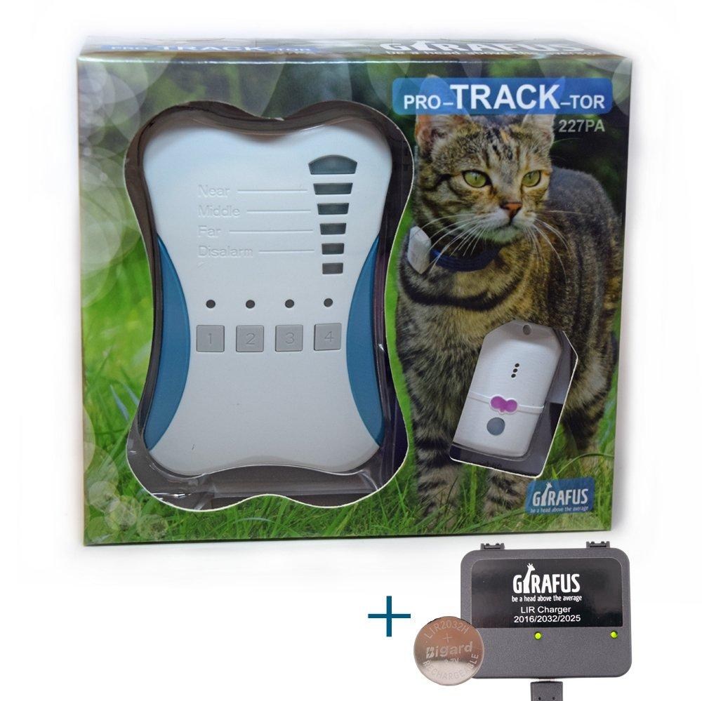 Rastreador de Mascotas Mini Girafus® Pro-Track-Tor Localizador con Ondas de Radio Anti-Pérdida Gato, Perro – 4 transmisor + Cargador Incluido