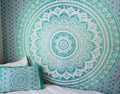Türkis Mandala Teppich, Mandala Bedspread, Grün Blau Ombre Große Tapisserie, Hippie-Tapisserie, Boho-Tapisserie, Bohemian Picknick-Decke -