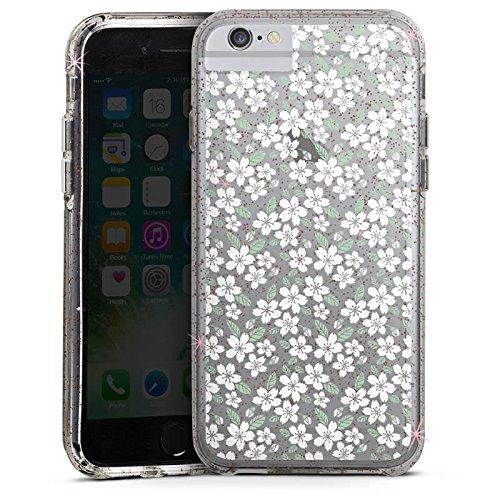 Apple iPhone 8 Bumper Hülle Bumper Case Glitzer Hülle ohne Hintergrund Blumen Midsommar Bumper Case Glitzer rose gold