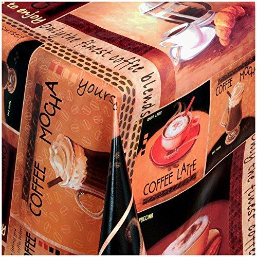 TEXMAXX Wachstuchtischdecke Wachstischdecke Wachstuch Tischdecke abwaschbar (251-00) - 160 x 140 cm - PVC Tischdecke abwischbar, Kaffee - Cappuccino - Latte Macchiato Muster in Terracotta-Braun