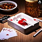 #8: archies Ashtray for Cigarette with Holder Slots and Ash Collector Tray, Playing Card Deck Design Ceramic Material (13.5x10.5) 1 PC