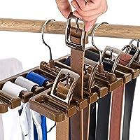 10Ranura cinturón Bufanda Rack Organizador Resistente plástico Armario Armario Ahorro de Espacio Percha cinturón con Gancho de Metal, marrón, 10 Slot