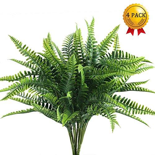 Nahuaa 4pcs Künstliche Farne künstliche Blumensträuße Outdoor-Pflanzen Gras persische wasserdichte gefälschte Pflanze Dekoration Wohnzimmer Couchtisch (Farn-girlande)