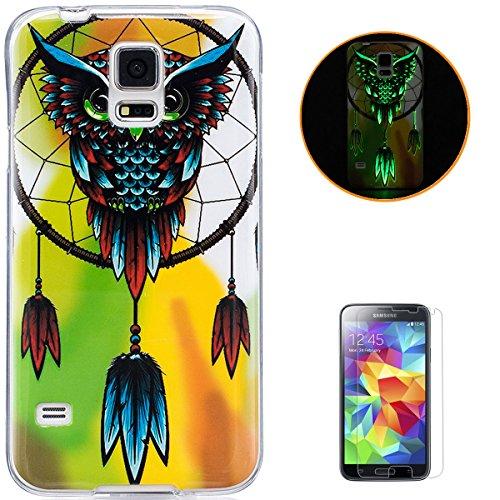 KaseHom Compatible for Samsung Galaxy S5/I9600 Leuchtende Wirkung Ultra dünn TPU Hülle, Weich Klar Silikongel Stoßfest Rutschfest Gummi Stoßstange Staubbeweis Haut Schutzschale Fall-Große Eule