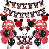 JOYMEMO Decorazioni per Forniture per Feste Minnie Mouse Nere Rosse, Palline a Nido d'Ape di Topolino, Banner di Buon Compleanno, Fascia per Capelli, Cake Topper per Il Compleanno della Ragazza