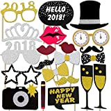 Konsait 2018 Nouvel An Party Accessoires Photobooth Drôle DIY Kit Photo booth Props déguisement Masquerade chapeau Lunettes pour adultes enfants Nouvel An anniversaire mariage décoration faveur (21Pcs)