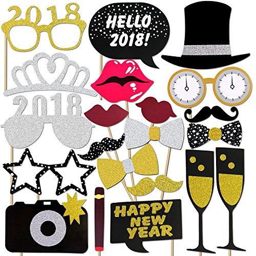 Neujahr 2018 Fotorequisiten Fotoaccessoires (21Pcs), Konsait Silvester Photo Booth Props Set mit Stick für Erwachsene Kinder Party Accessoires 2018 Neujahr Party Dekor Verkleidung Mitbringsel Maske (21 Pcs)