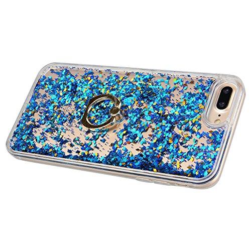 """HB-Int 3 in 1 Hülle für iPhone 7 (4.7""""), 3D Fließen Flüssig Handyhülle mit Standfunktion Holder Glitzer Bling Hart PC Back Case + Weich Silikon Rahmen Tasche Slim Luxus Transparent Schutzhülle Standpl Blau"""