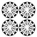 14 Zoll Bicolor Radzierblenden ONYX (Weiß/Schwarz mit Chromring). Radkappen passend für fast alle FORD wie z.B. Escort MK6