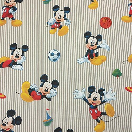 Disney Mickey Maus Sport Beige–Neuheit Premium Grade 100% Baumwolle feines Gewebe Kinder Vorhang Betten Stoff 140cm breit, Meterware, (Stripe Mini Aus Bettwäsche Baumwolle)