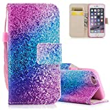 Aeeque Pretty Blue Purple Glitter Wallet Case for iPhone 6/6S 4.7 inch, Premium PU Leather Bookstyle Kickstand Function with Credit Card Slots Soft Silicone Shockproof Protection Holster