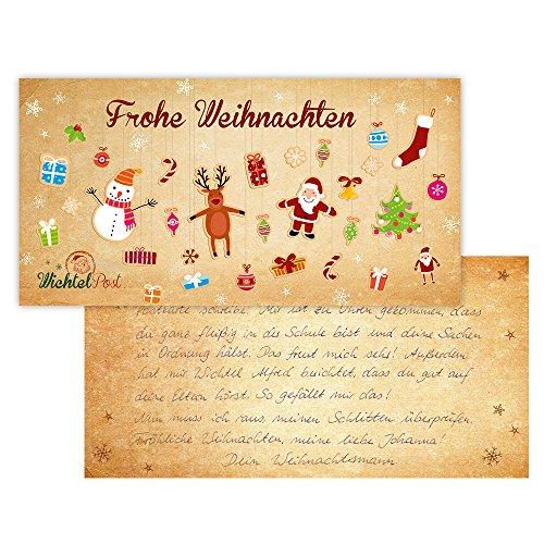 nikima Schönes für Kinder handgeschriebene & Personalisierte Postkarte vom Weihnachtsmann Wichtelpost (Weihnachtsmann Postkarten)