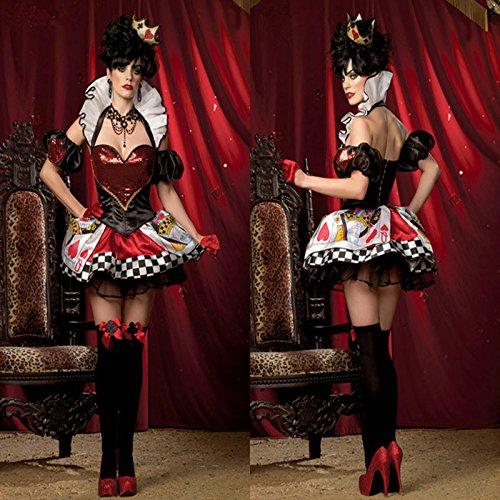 r Herzen Halloween Kostüm Kleid Adel Pokerspiel ds Königin Bühnenkostüme (Halloween Königin Der Herzen)