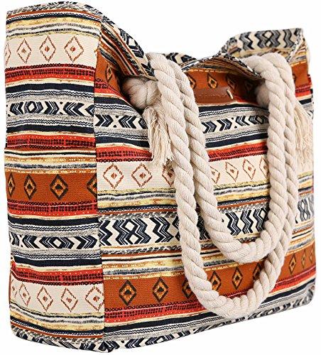 Malirona Grande borsa da viaggio in tela di canapa da spiaggia - Borsa perfetta per le vacanze (Blu) Stile indiano