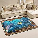 coosun Delphin Meer Tiere Bereich Teppich Teppich rutschfeste Fußmatte Fußmatten für Wohnzimmer Schlafzimmer 91,4x 61cm, Textil, multi, 36 x 24 inch