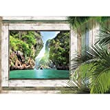 Vlies Fototapete PREMIUM PLUS Wand Foto Tapete Wand Bild Vliestapete - Holz Holzoptik Rahmen Fenster Bucht Wasser Palmen Meer - no. 3008, Größe:152.5x104cm Vlies