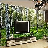 Benutzerdefinierte 3D-dreidimensionale Wandtapete Wohnzimmer Schlafzimmer Sofa TV Hintergrundbild Grüne Birke Wald Fototapete XXL 350X825CM