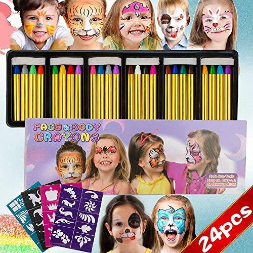 Kostenlose Gesicht Waschen (INVOKER 24 Farben Schminkstifte Party Faschingsschminke Face und Bodypaint Farbe Körperbemalung Schablone, Körper Tattoo Buntstifte Kit für Kinder, Ungiftig Einfach Waschbar)