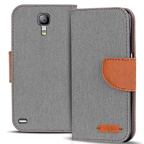 Conie Textil Hülle kompatibel mit Samsung Galaxy S4 Mini, Booklet Cover Silberne Handytasche Klapphülle Etui mit Kartenfächer