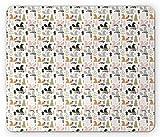 Tappetino per mouse Doodle, simpatici alberi di scoiattolo Registro Castagno Pineta Bosco Rami di bosco Foglie Erbe Cartone animato, Rettangolo di dimensioni standard Tappetino in gomma antiscivolo, M