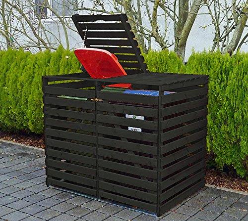 PROMADINO Mülltonnenbox VARIO V Müllbox für 2 Mülltonnen ANTHRAZIT 425/13 Holz