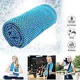 WOSON Reusable Kühlung Breathable Ineinander Cool Towel EIS Handtuch 88 x 33 cm für Reise, Sport, Turnhalle, Yoga, Schwimmen, Strand und alle Anderen Sport (Blau)