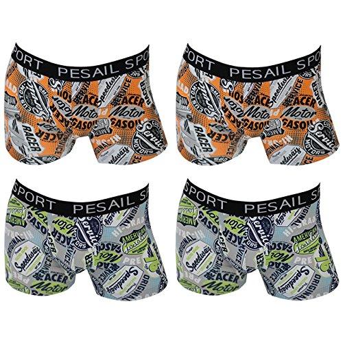 4er Pack Herren Retroshorts Boxershorts Sixty Style 4 verschiedene Farben 2x grün 2x orange