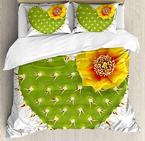 Cactus Decor 3-teiliges Bettwäscheset, Thorny Cactus in Form von Herzen und gelben Blüten-Opuntia-Stacheln, Bettwäscheset Tagesdecke für Kinder / Jugendliche / Erwachsene / Kinder, Grün, Gelb, Orange