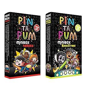 PinTaPum Pandilla Pack 2 Minibox (Heroes y Rockstars) Cuadernos para Colorear Que Incluyen Colores y Pegatinas, Multicolor (1)
