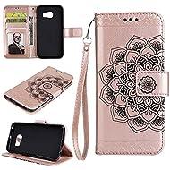 Galaxy S7 Edge Housse EST-EU Retro Mandala fleur estampée PU en cuir Housse de protection avec porte-cartes, Portefeuille Étui pour Samsung Galaxy S7 Edge, Or rose