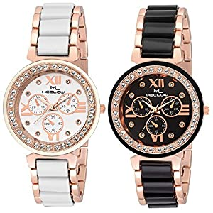 Meclow Analogue Women's Watch (Black & White Dial Black & White Colored Strap) (Pack of 2)