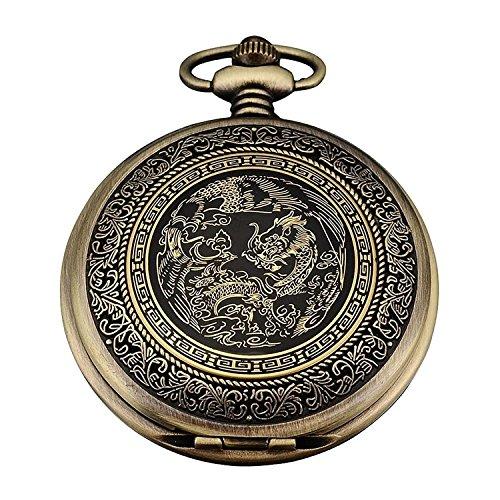"""Reloj """"Dragon series"""" - SODIAL(R)Reloj de Bolsillo de Cuarzo, Analogico, Caja Bronce, con Dragon series WPK062"""