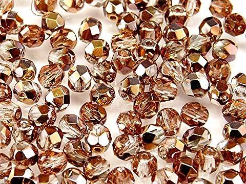 50 pcs Tchèque facettes perles de verre, Fire-Polished ronde 6 mm Appolo Gold