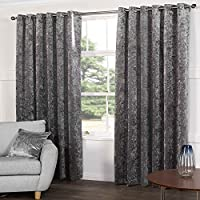 """Tony's Textiles Kensington Steel Silver Grey Crushed Velvet Pair of Fully Lined Ring Top Eyelet Curtains (90"""" Wide x 90"""" Drop)"""