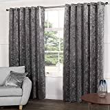 "Tony's Textiles Kensington Steel Silver Grey Crushed Velvet Pair of Fully Lined Ring Top Eyelet Curtains (90"" Wide x 90"" Drop)"