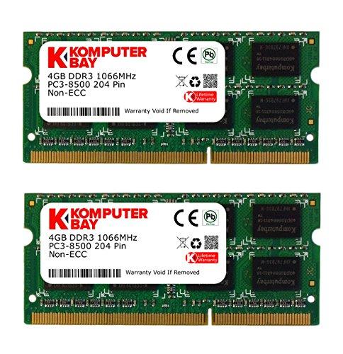 Komputerbay KB_8GB_2X4GB_HS_DDR3_HYNIX_SO1066_1 - RAM da 8GB (2x 4GB) 204 Pin 1066MHz PC3 8500 DDR3 SODIMM