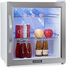 Klarstein Beersafe L Crystal White Kühlschrank mit Glastür • Mini-Kühlschrank • Mini-Bar • 47 Liter Fassungsvermögen • nur 42 dB • LED-Innenbeleuchtung • 2 Metallroste • Edelstahlrahmen • weiß