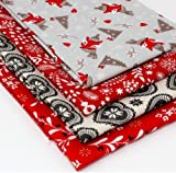 4 Fat Quarters – Scandi Wood Country Christmas – 100%