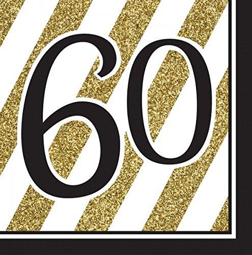 34 Teile Dekorations Set zum 60. Geburtstag oder Jubiläum – Party Deko in Schwarz & Gold - 2