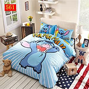 3d cartoon point 3 pi ces parure de lit 100 coton housse de couette drap de lit pour enfant. Black Bedroom Furniture Sets. Home Design Ideas