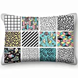 dfgi Memphis s Geometric Animals Grid Beauty Fashion Beauty Fashion Throw Pillow Case Cushion Cover Double Side Design 20' x 30'