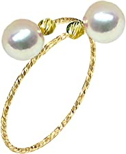 18K Solid Yellow Gold Open Spring Semi-Mounted Rings High Luster Freshwater Cultured Pearl (Single Circle Spring)