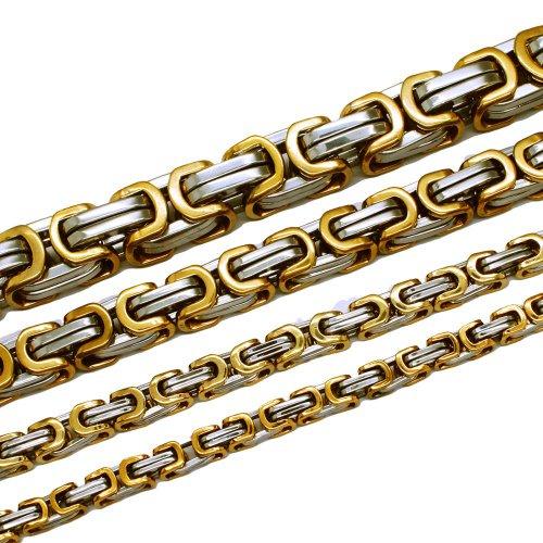 Soul-Cats® Königskette Halskette aus Edelstahl in gold/silber, Länge: 70 cm, Stärke: 6 mm und Armband, Länge: 22 cm