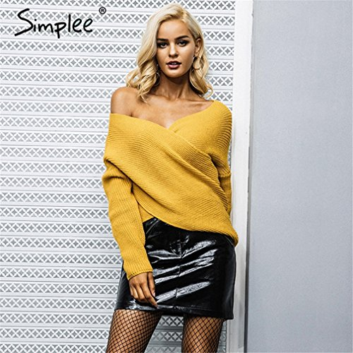 LnLyin Damen Einheitliche Einfarbigen T Shirt Pullover Gelb One Size (Größentabelle Einheitliche)
