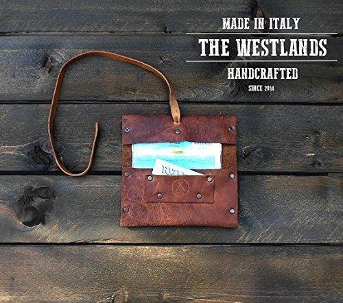 Porta Tabacco The Westlands Vera Pelle Primo Fiore Made in Italy con porta cartine e fiammiferi Portatabacco sigarette messicana Rolling