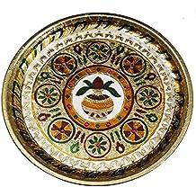 Decorated Meenakari Kalash Art Pooja Thali, Pooja Plate, Aarti Pooja Thali