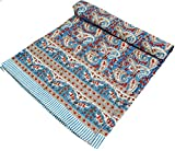 Guru-Shop Blockdruck Tagesdecke, Bett & Sofaüberwurf, Handgearbeiteter Wandbehang, Wandtuch - Blau/rot Paisley, Baumwolle, Größe: Double 225x275 cm, Tagesdecken mit Blockdruck