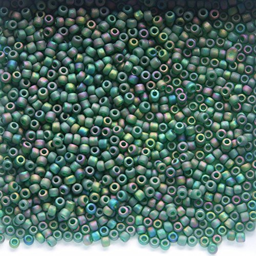 Emerald Frosted AB Glass Seed Beads 100g 11/0 023FAB