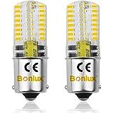 Bonlux 2-PCS BA15S 3 Watt 12V Ampoule LED DC Blanc chaud 3000K baïonnette unique Contact SBC BA15S 1156 1141 1073 1093 1129 L