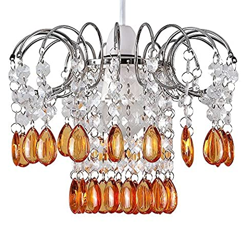 Modern 2 Tier Waterfall Chrome Ceiling Pendant Light Shade with Orange & Clear Acrylic Jewel Effect